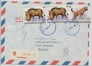 LM85744 Burundi air mail registered good cover used