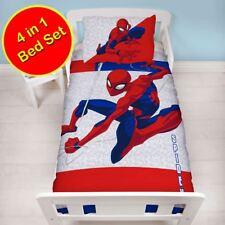 Spiderman 4 en 1 Junior Lit Bébé Ensemble de Literie Housse de Couette Métropole