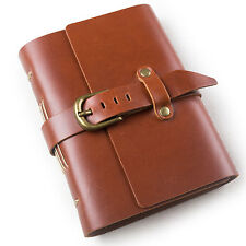 Ancicraft Leather Diary Journal with Strap Buckle A6 Blank Craft Paper Red Brown
