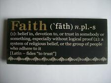 "FAITH Encouraging Word Definition Wood Sign Plaque 10 4.5"" with attached easel"