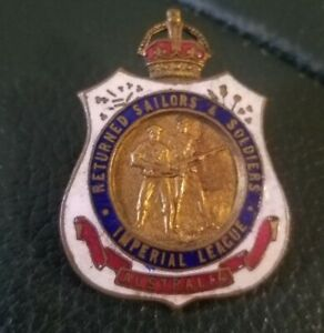 Vintage Badge Returned Sailors And Sodiers Imperial League Australia. No S7682