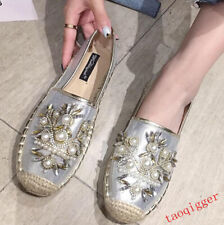 Sweet espadrilles women's rhinestone pearl flat flowers casual New floral shoes