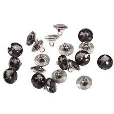 20pcs x 12mm Grigio Rotondo Cristal Diamante Sfaccettato Bottoni