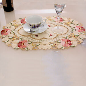 Vintage Embroidered Placemats Floral Lace Coasters Table Mats Dining Table Decor