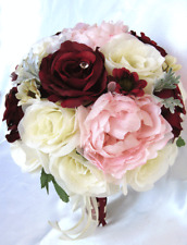 17 piece Wedding Bouquet package Bridal Silk Flowers CREAM BURGUNDY Light PINK