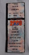 New York Mets Vs Montreal Expos Ticket Stub 2000 9/30/00