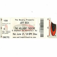 Jeff Beck Concert Ticket Stub Montclair Nj 6/14/10 The Wellmont Theatre Faces