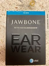 """USED! Jawbone ICON """"The Thinker"""" Black w/Noise Assassin Bluetooth Headset"""
