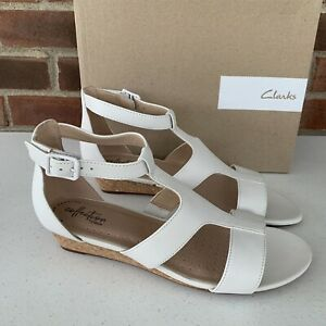 New Clarks White Leather Wedge Sandals Cage Women's Size US 9 M