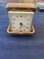 Vintage Westclox Travel Alarm Clock Brown  Case Made by General Time