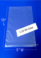 "1000 5x10"" Clear 1.25 Mil Poly Bags Flat Open Top Plastic Baggies Case Heat Seal"