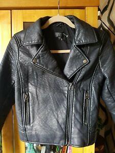 Ladies Topshop Faux Leather Biker Jacket 6