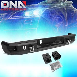 FOR 2009-2018 RAM TRUCK BLACK REAR HEAVY DUTY STEEL STEP BUMPER W/DUAL D-RINGS