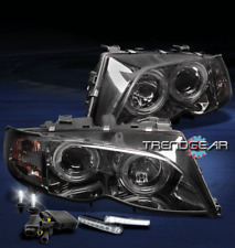 2002-2005 BMW E46 3 SERIES 4DR HALO SMOKE PROJECTOR HEADLIGHT+LED DRL SIGNAL+HID