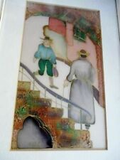 """Hand Painted Silk Israel Men Staircase Colorful Wall Art Frame Coa 15.5 x 10.5"""""""