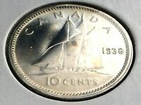 1938 Canada Ten 10 Cent Silver Dime Canadian George VI Whizzed Coin L002