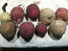 LOT OF 9 LIFESIZE BEADED ARTIFICIAL FRUIT ORNAMENTS - PEARS- APPLES-POMEGRANATES