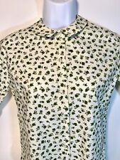 Aileen Pennington 50s Green Floral Print Button Front Ladies S/S Shirt Sz M/L