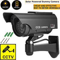 Dummy Camera Solar CCTV Security Surveillance Cam Fake Red IR LED Indoor Outdoor