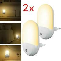 2PCS Automatic LED Night Light Plug Energy Saving Dusk Dawn Sensor Kids Light