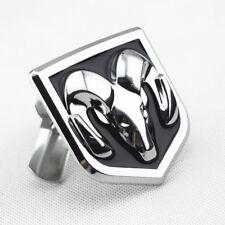 Silver Black Metal Ram Front Grille Emblem Badge W/ Mount For Dodge Vehicle Kits