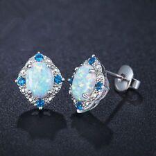 Women Silver Plated Jewelry Earrings Rhombic Pattern Ear Studs Oval Opal