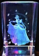 CINDERELLA PRINCESS BALL GOWN & STARS 3D CRYSTAL Laser+LIGHT BASE NEW GIFT BOX