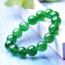 Beads Stretch Bangle Bracelet Y3409 Natural 12mm Green Jade Gemstone