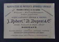 Carte de visite DUPRAT Machine agricole tracteur CLAYTON Bordeaux visit card