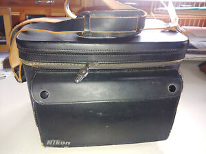 Vintage Nikon Hard Leather / Metal Shoulder Camera Kit System Case / Bag