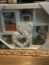Led double heart multi-photo frame brand new