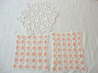 3 Vintage 1950's Hand Crochet Doilies Peach Floral & White Assorted Sizes