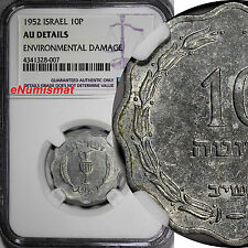 Israel  Aluminum 5712 (1952) 10 Pruta NGC AU DETAILS KM# 17