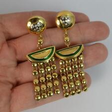 Stunning MOUAWAD Enamel & Diamond 18ct Gold Drop Dangle Earrings d1703