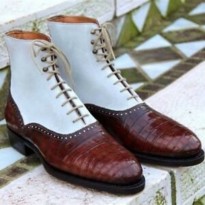 Handmade Men Brown & White Ankle High Leather & Suede Crocodile Texture Boots