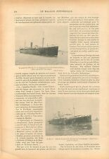 Port de Montréal Canada & du Havre Paquebot CGT GRAVURE ANTIQUE OLD PRINT 1914