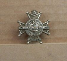 Victorian Derbyshire Regiment Sherwwod Foresters Collar Badge QVC Crown