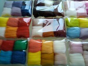 Assorted Colours* 100% Merino Wool Tops for Wet & Dry Felting, Packs of 30 grams