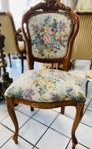 1x Chippendale Stühle Stuhl Sessel Gobelin Antik Antiquität  Barock Shabby