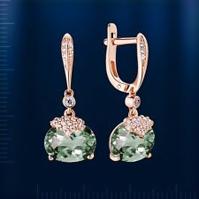Russian Rose gold 14k/ 585 green amethysts, CZs dangle earrings  . NWT 3.84 g
