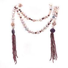 Offene Barock-Perlen Kette ca. Ø 8mm mit Granat und Rubin - Länge:180cm - 144,2g