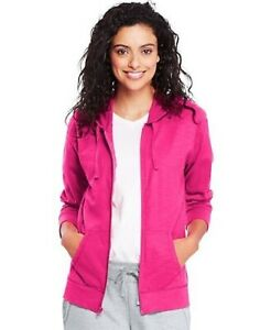 Hanes Women's Slub Jersey Hoodie Jacket with Pockets - 8 NEW COLORS - S-2XL
