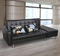 Modern Storage Sofa Bed Couch Lounge Chair Mattress Pillows PU Furniture Black