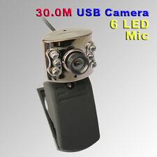 USB 2.0 30M 6 LED Webcam Camera With Mic Web Cam for Desktop PC Laptop Skype MSN