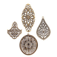 20pcs Iron Filigree Large Pendants Hollow Antique Bronze Dangle Charms Findings