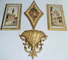 VTG ANTIQUE ITALIAN FLORENTINE TOLEWARE BIG WOOD WALL PLAQUE MADE IN ITALY