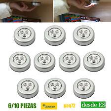6/10x Gabinete Luces LED Armario CAJON LAMPARA Luz nocturna adhesivas botón
