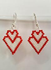Damen Ohrschmuck Doppel Herz für Valentinstag, Muttertag, 925 Silber, handmade
