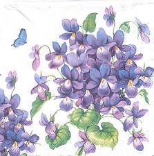 2 Serviettes en papier Fleurs Violettes Decoupage Paper Napkins Violets Flowers