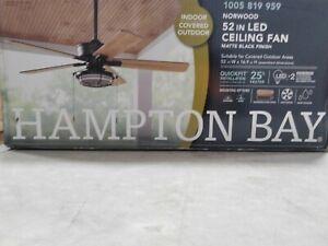 Hampton Bay Norwood 52 in. Indoor/Outdoor LED Matte Black Downrod Ceiling Fan